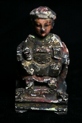 Antique Chinese Thai Gilt Gold & Polychrome Wood Temple Ancestral Figure PTB041