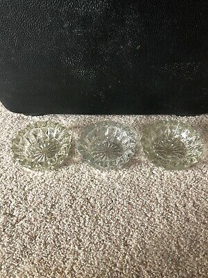 Vintage Round Flat Top Cut Glass Open Salts Set of 3 Dipper Serving Kitchen