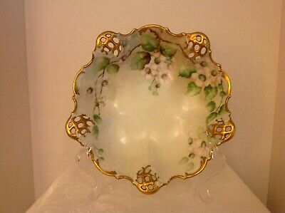 Antique Rosenthal BRC Moliere Hand Painted Pierced Bowl Dish Ca 1898-1900