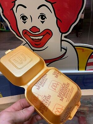 Vintage McDonald's Sausage McMuffin w/ Egg Styrofoam clamshell Food container