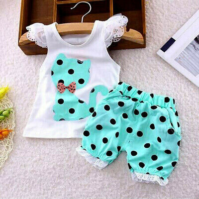 Summer Baby Girls Clothing Set Children Bow Cat Shirt+Shorts Clothes Set Outfit