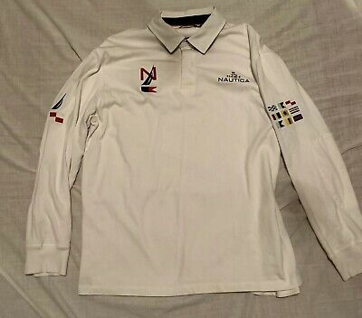 4ff38de28ed Vintage Nautica Challenge Mens XL Polo Rugby Sailing Embroidered Flags Shirt
