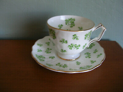 Footed Cup & Saucer Set by Aynsley Fine Bone China/ England Shamrock/Crocus