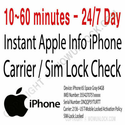FAST iPhone info Check - IMEI /Simlock/Carrier /Find My Iphone /Blacklist Status