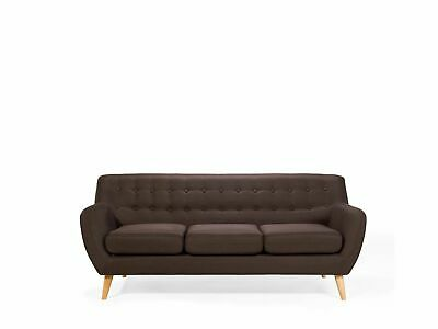 Mid Century Modern 3 Seater Sofa Button Tufted Brown Motala