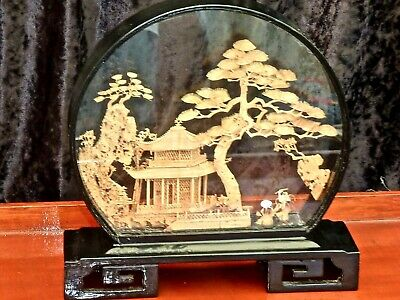 Fabulous Vintage Handcrafted Oriental Cork 3D Diorama In Lacquered Glass Box
