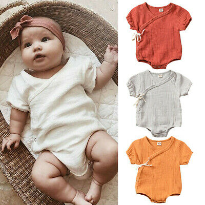 Kids Newborn Infant Baby Girl Boy Solid Kimono Romper Bodysuit Clothes Outfits