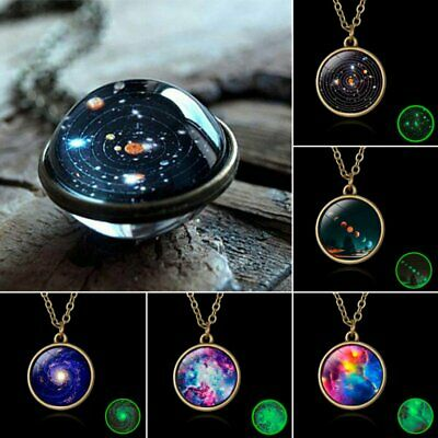 Charm Universe Galaxy Nebula Space Glass Ball Pendant Glow in the dark Necklace