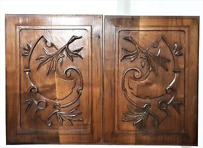 Pair farmhouse country cottage panel Antique french wood architectural salvage