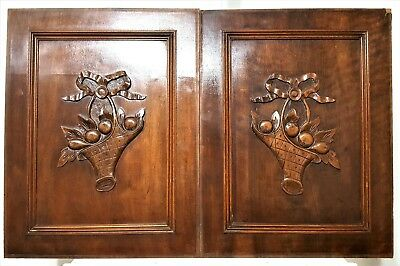 Hand Carved Wood Panel Pair Antique French Bow Fruit Basket Archectural Salvage