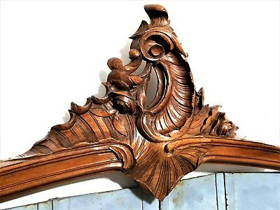Architectural flower rococo pediment Antique french carved wood salvaged crest