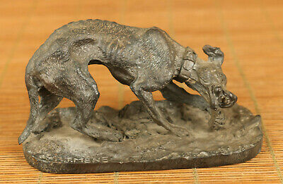Antiques old copper hand carving dog eat bone statue figue netsuke decoration