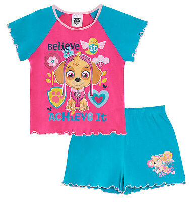 Girls Skye Paw Patrol Short Pyjamas Kids Character Summer Shortie Pjs Set Size