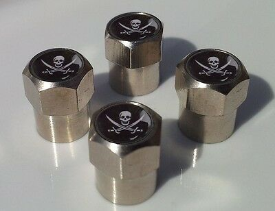 Calico Jack Pirate Chrome Aluminium Tyre Valve Caps For Car Tire Wheel