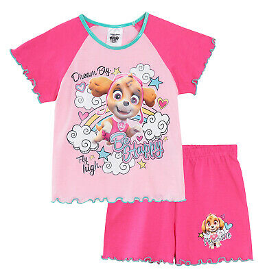 Girls Paw Patrol Short Pyjamas Kids Skye Dream Big Summer Shortie Pjs Set Size