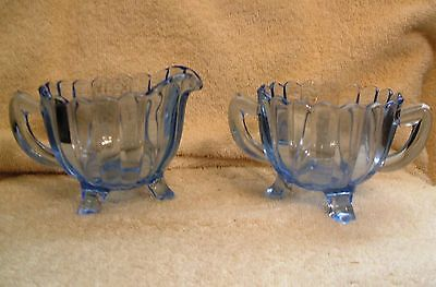 Vintage Imperial Glass Blue Glow Pillar Flute Creamer and Sugar Bowl