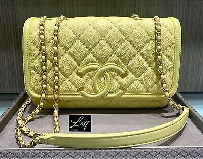f8e8d65ee930 Authenticated Chanel Caviar Quilted Filigree Flap Small W/ Card Limited  Edition