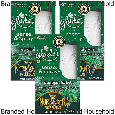 3 x GLADE SENSE & SPRAY AIR FRESHENER AUTOMATIC MACHINE REFILL MAGICAL FOREST