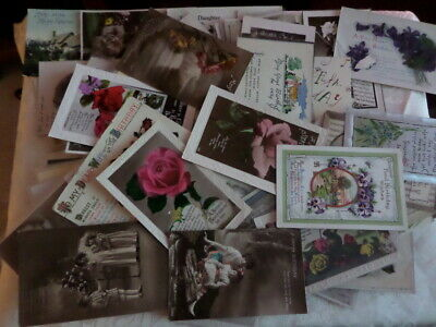 103 x GREETINGS POSTCARDS - BIRTHDAY WISHES - all but two VINTAGE - used/ unused