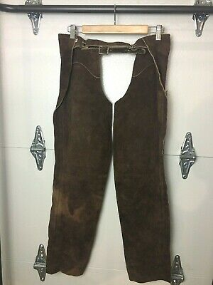 Vtg Men Women Small Brown Suede Leather Chaps Horse Riding Equestrian Motorcycle
