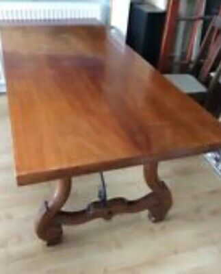 Large Spanish Style Wood And Metal Refectory Dining table Seats 10.