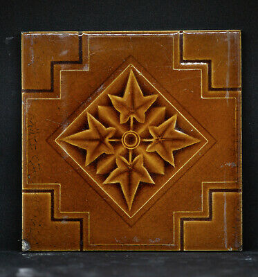 1x Antique Salvage Original Victorian Decorative Square Tile 6 inch