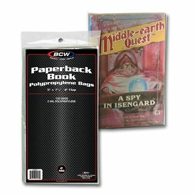 Paperback Book Bags x 100 pack, 5 x 7.375 inches