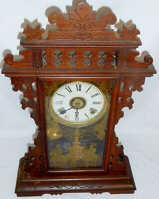 EN Welch 8 Day Time & Strike Carved Eastlake Parlor Kitchen Mantle Clock c. 1880