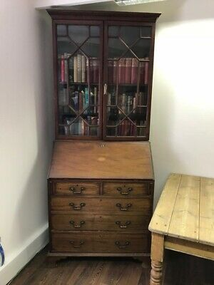Georgian Bookcase Bureau Inlaid Mahogany