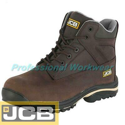 96aedab13a7 JCB MENS LEATHER Waterproof Safety Steel Toe Cap Brown Work Boots ...