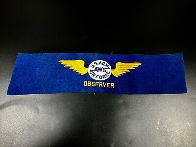 """Antique US Army AWS Air Force Observer Armband 15"""" ~ WW II Patch Spotter"""