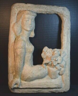 Arline Hollander Wingate Concrete WPA Style Sculptural Plaque