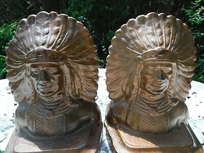 ANTIQUE 1920's CAST IRON ARTS AND CRAFTS ART DECO INDIAN HEAD BOOK ENDS