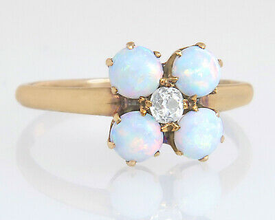 Antique Estate 14k Gold 1.15ct Genuine Diamond & Opal Victorian Engagement Ring