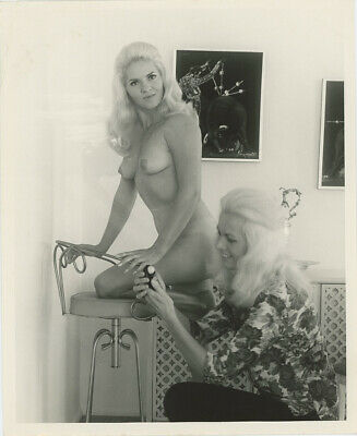 Bunny Yeager 1960s Posed Candid Self Portrait Photograph With Nude Model Sultry