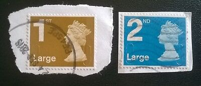2 x USED GB 1ST 2ND LARGE LETTER SECURITY MACHIN STAMPS SGU2988/90 (2009) FOYAL