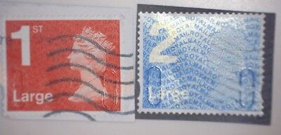 2 x USED GB 1ST & 2ND LARGE LETTER SECURITY MACHIN 2012 STAMPS MA12 MFIL U3032/7