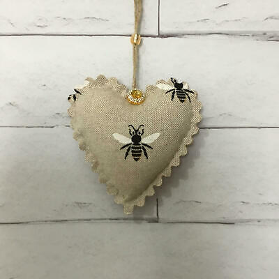 Bumble Bee Handmade Fabric Hanging Door Heart Shabby Chic Padded Vintage Gift