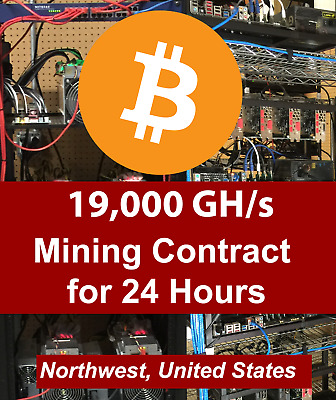 19 TH/S Antminer Dual S9 ASIC  Bitcoin / 24 hour Mining Contract / Rental Lease