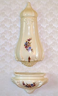 Vintage Wall Mounted Ceramic Fountain Holland Mold Floral and Beige Shabby Chic