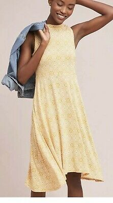 b0ee8abdcca1 Anthropologie Maeve Cleary Mock Neck Jersey Dress XS Yellow New Sleeveless