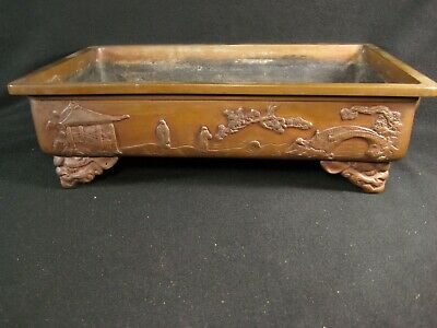 Antique Japanese 140 Yr Old Bronze Ikebana Bonsai Container Hirokuchi Suiban