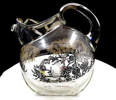 """ALVIN SILVER CO STERLING silver FLORAL OVERLAY 7 3/4"""" BALL JUG PITCHER 1900's"""