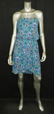 e85845837ebf EXPRESS Blue/Coral/Teal Floral Print Strapless Blouson Short Hi-Low Dress sz