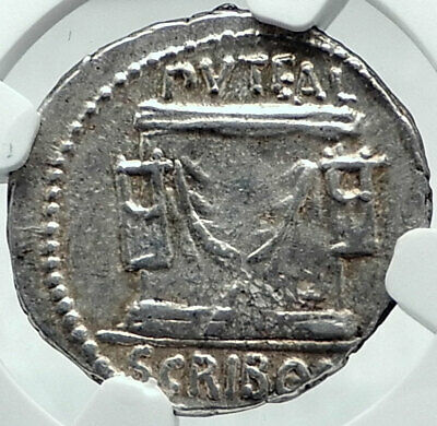 Roman Republic Rome FORUM Building 62BC Genuine Ancient Silver Coin NGC i78048