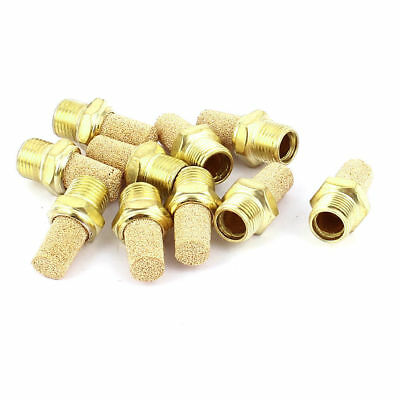H● 10 Pcs 1/8PT Male Thread Pneumatic Muffler Silencer Filter Exhaust Brass.