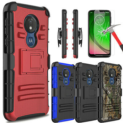 For Motorola Moto G7 Play / G7 Optimo Case With Kickstand Clip+Screen Protector