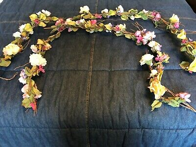 EUC Lot 2 Vintage Victorian Pink Yellow Roses Floral Garland Flowers Twigs Wired
