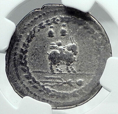 Roman Republic 85BC Ancient Silver Coin VEJOVIS & GENIUS / CUPID GOAT NGC i78052