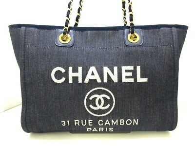 3a23790115dbe7 AUTH CHANEL DEAUVILLE PM Chain Shoulder Tote Bag Canvas Beige Brown ...
